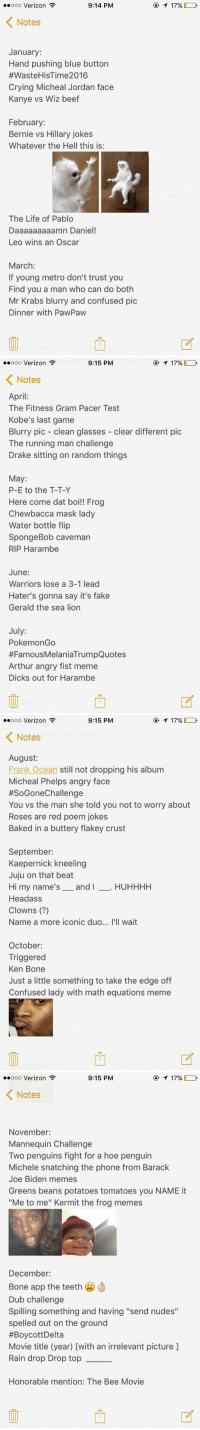 "Arthur, Baked, and Bee Movie: 9:14 PM  oooooo Verizon  K Notes  January:  Hand pushing blue button  #Waste HisTime2016  Crying Micheal Jordan face  Kanye vs Wiz beef  February:  Bernie vs Hillary jokes  Whatever the Hell this is:  The Life of Pablo  Daaaaaaaaamn Daniel!  Leo wins an Oscar  March:  If young metro don't trust you  Find you a man who can do both  Mr Krabs blurry and confused pic  Dinner with PawPaw  T 17%   9:15 PM  17%  oooooo Verizon  K Notes  April:  The Fitness Gram Pacer Test  Kobe's last game  Blurry pic clean glasses  clear different pic  The running man challenge  Drake sitting on random things  May  P-E to the T-T-Y  Here come dat boi!! Frog  Chewbacca mask lady  Water bottle flip  SpongeBob Caveman  RIP Harambe  June:  Warriors lose a 3-1 lead  Hater's gonna say it's fake  Gerald the sea lion  July  Pokemon Go  #Famous MelaniaTrumpQuotes  Arthur angry fist meme  Dicks out for Harambe   17%  9:15 PM  ooooo Verizon  K Notes  August:  Frank Ocean still not dropping his album  Micheal Phelps angry face  #SoGonechallenge  You vs the man she told you not to worry about  Roses are red poem jokes  Baked in a buttery flakey crust  September:  Kaepernick kneeling  Juju on that beat  Hi my name's  and  I  HUHHHH  Headass  Clowns  Name a more iconic duo... I'll wait  October:  Triggered  Ken Bone  Just a little something to take the edge off  Confused lady with math equations meme   9:15 PM  T 17%  ooooo Verizon  K Notes  November:  Mannequin Challenge  Two penguins fight for a hoe penguin  Michele snatching the phone from Barack  Joe Biden memes  Greens beans potatoes tomatoes you NAME it  ""Me to me"" Kermit the frog memes  December:  Bone app the teeth  Dub challenge  Spilling something and having ""send nudes""  spelled out on the ground  #BoycottDelta  Movie title (year) [with an irrelevant picture  Rain drop Drop top  Honorable mention: The Bee Movie EVERYTHING THAT HAPPENED ON TWITTER IN 2016"
