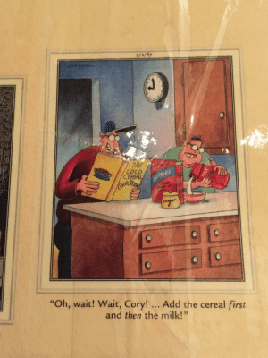 """omg-images:  Far Side…keeping sociopaths in line since '87.: 9/2/87  THE  COLD  CEREA  es  Co  """"Oh, wait! Wait, Cory! Add the cereal first  and then the milk!""""  0) omg-images:  Far Side…keeping sociopaths in line since '87."""