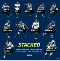 Cliff Avril, Memes, and Michael Bennett: 9  20  JEREMY  LANE  ARRAN  REED  BOBBY  WAGNER  FRANK  CLARK  K.J  WRIGHT  72  CLIFF  AVRIL  MICHAEL  BENNETT  RICHARD  SHERMAN  KAM  CHANCELLOR  STACKED  EARL  THOMAS  The acquisition of Sheldon Richardson adds another  big name to Seattle's already prominent defense.  SHELDON  RICHARDSON  CO  NFL That @Seahawks defense just added another Pro Bowler 😳 https://t.co/3eieeVoJqP