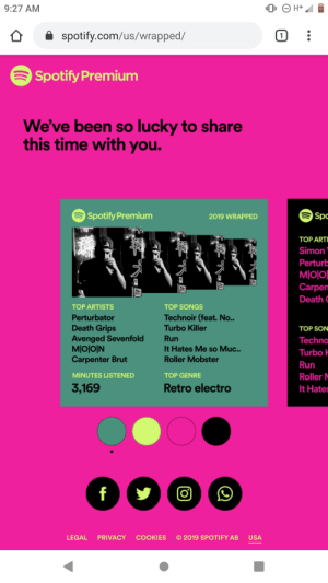 lol: 9:27 AM  (1  spotify.com/us/wrapped/  Spotify Premium  We've been so lucky to share  this time with you.  Spotify Premium  Spc  2019 WRAPPED  TOP ARTI  Simon  Perturb  MI이이  Carpen  Death C  TOP ARTISTS  TOP SONGS  Technoir (feat. No..  Turbo Killer  Perturbator  Death Grips  Avenged Sevenfold  MIO이N  Carpenter Brut  TOP SON  Run  Techno  It Hates Me so Muc..  Roller Mobster  Turbo -  Run  MINUTES LISTENED  TOP GENRE  Roller M  3,169  Retro electro  It Hates  f  © 2019 SPOTIFY AB  LEGAL  PRIVACY  COOKIES  USA lol