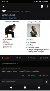 2Meirl4Meirl: 9:29 46  u/Lord_Bobbathan 10h i.redd.it  2meirl4meirl  Memes  Pics & Gifs  Talking about suicide  Joking about suicide  0  X is awkward  X stigma  Vis funny  V is relatable  Vis free  weird looks  X social cost  no weird stares  are you joking?are you serious?  nobody knows, but you  12.2k  97  ShareAward  BEST COMMENTS  I HATE-inconsistencY . 4h  Jokes on you, I don't know if I'm serious either.  Reply 1 266  Add a comment
