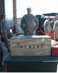 Japanese, Wwii, and Mass: 9/4/2008 Officer inspects Japanese weapon of mass destruction, confiscated by US authorities post-WWII (1948, colorised)