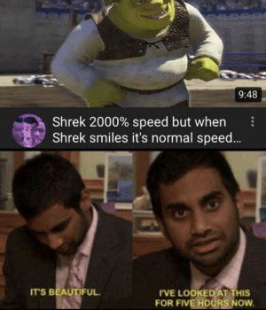 .: 9:48  Shrek 2000% speed but when  Shrek smiles it's normal speed..  IT'S BEAUTIFUL.  I'VE LOOKED AT THIS  FOR FIVE HOÜRS NOW.  ... .