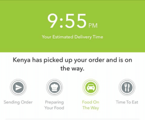 Dank, Food, and Ups: 9:55PM  Your Estimated Delivery Time  Kenya has picked up your order and is on  the way.  ER  Sending Order  Preparing  Your Food  Food On  The Way  Time To Eat Any proud Kenyans in the house? Big ups to Kenya 🇰🇪