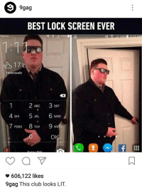 the bouncer meme is now a normie meme: 9 9gag  BEST LOCK SCREEN EVER  Telstra  M  Helensvale  3 DEF  ABC  5 6 4 GHI  JKL.  MNO  7 8 9 wx  PORS  TUV  OK  606,122 likes  9gag This club looks LIT. the bouncer meme is now a normie meme