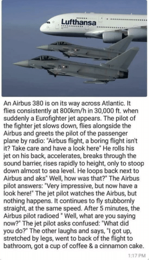 "İs it just me or this feels wholesome?: 9  An Airbus 380 is on its way across Atlantic. It  flies consistently at 800km/h in 30,000 ft. when  suddenly a Eurofighter jet appears. The pilot of  the fighter jet slows down, flies alongside the  Airbus and greets the pilot of the passenger  plane by radio: ""Airbus flight, a boring flight isn't  it? Take care and have a look here"" He rolls his  jet on his back, accelerates, breaks through the  sound barrier, rises rapidly to height, only to stoop  down almost to sea level. He loops back next to  Airbus and aks"" Well, how was that?"" The Airbus  pilot answers: ""Very impressive, but now have a  look here!"" The jet pilot watches the Airbus, but  nothing happens. It continues to fly stubbornly  straight, at the same speed. After 5 minutes, the  Airbus pilot radioed"" Well, what are you saying  now?"" The jet pilot asks confused: ""What did  you do?"" The other laughs and says, ""I got up,  stretched by legs, went to back of the flight to  bathroom, got a cup of coffee & a cinnamon cake.  1:17 PM İs it just me or this feels wholesome?"
