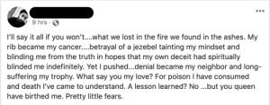 This guy's whole facebook is gold. It's either stuff like this (often accompanied by the hashtag #poetry), vaguebooking about his toxic relationships, or Drake videos.: 9 hrs  I'll say it all if you won't....what we lost in the fire we found in the ashes. My  rib became my cance....betrayal of a jezebel tainting my mindset and  blinding me from the truth in hopes that my own deceit had spiritually  blinded me indefinitely. Yet I pushed...denial became my neighbor and long-  suffering my trophy. What say you my love? For poison I have consumed  and death I've came to understand. A lesson learned? No ...but you queen  have birthed me. Pretty little fears. This guy's whole facebook is gold. It's either stuff like this (often accompanied by the hashtag #poetry), vaguebooking about his toxic relationships, or Drake videos.