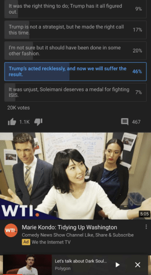 Marie Kondo save us!: 9%  It was the right thing to do; Trump has it all figured  out.  Trump is not a strategist, but he made the right call  this time.  17%  20%  I'm not sure but it should have been done in some  other fashion.  Trump's acted recklessly, and now we will suffer the  result.  46%  It was unjust, Soleimani deserves a medal for fighting  ISIS.  7%  20K votes  467  1.1K  SANCTUARY  CITIES  MS 13  WTI.  5:05  Marie Kondo: Tidying Up Washington  WTI  Comedy News Show Channel Like, Share & Subscribe  Ad We the Internet TV  Let's talk about Dark Soul.  Polygon  KAPGS  HADET Marie Kondo save us!