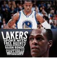 Free Agency is up and running! The Lakers had meetings (over the phone) with both Rajon Rondo and Andre Iguodala! Would you want them to come to the Lakers?: 9  LAKERS  SPOKE WITH  FREE AGENTS  RAJON RONDO,  ANDRE IGUODALA &  ACCORDING TO  ESPN'S ADRIAN  ORYANWARDLA  WOSNAROWSKI Free Agency is up and running! The Lakers had meetings (over the phone) with both Rajon Rondo and Andre Iguodala! Would you want them to come to the Lakers?