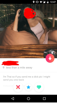 Tinder, Dick, and Jokes: 9 less than a mile away  I'm Thai so if you send me a dick pic I might  send you one back Bangkok tinder is jokes