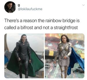 Target, Tumblr, and Blog: 9  @lokilaufuckme  There's a reason the rainbow bridge is  called a bifrost and not a straightfrost rustandruin:  Art.