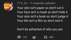 Thank you dear stranger: 9 maanden geleden  TTV_Zin  Your skin isn't paper so don't cut it  Your face isn't a mask so don't hide it  Your size isn't a book so don't judge it  Your life isn't a film so don't end it  Don't be ashamed of who you are.  E 489  12K Thank you dear stranger