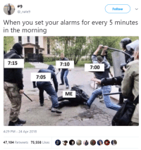 <p>Kicking ass in the morning, taking times in the evening (via /r/BlackPeopleTwitter)</p>:  #9  @_nate9  Follow  When you set your alarms for every 5 minutes  in the morning  7:15  7:10  7:00  7:05  ME  4:29 PM-24 Apr 2018  47,104 Retweets 75,558 Likes O <p>Kicking ass in the morning, taking times in the evening (via /r/BlackPeopleTwitter)</p>
