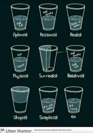 Tumblr, Uber, and Blog: 9  of  Optimist  Pessimist  Realist  Gos  Physicist Surrealist Relativist  er  2100$  Utopist Scepticist ea  on  Uber Humor  I did not have sexual relations with that woman failnation:  It's in the glass!
