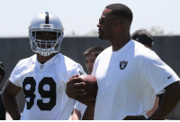 Retired WR Calvin Johnson is a guest at Raiders OTAs this week and is helping coach the WRs. Kinda dope, hes one of the best to do it.: 9 Retired WR Calvin Johnson is a guest at Raiders OTAs this week and is helping coach the WRs. Kinda dope, hes one of the best to do it.