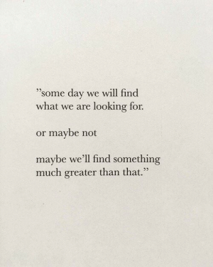 "Looking, Day, and Will: 9  ""some day we will find  what we are looking for.  or maybe not  maybe we'll find something  much greater than that.""  35"