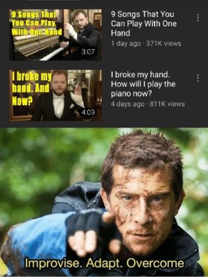 "This dude is never gonna give up the spirit: 9 Songs That You  Can Play With One  Hand  9 Songs Thate  ""You Can Play  WithOne Hand  1 day ago 371K views  3:07  I broke my hand.  How will I play the  piano now?  4 days ago 811K views  I broke my  hand. And  Now?  4:09  Improvise. Adapt. Overcome This dude is never gonna give up the spirit"