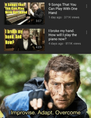 https://t.co/EQ7lruHH2j: 9 Songs That You  Can Play With One  Hand  9 Songs That  You Can Play  With-One-Hand  1 day ago 371K views  3:07  I broke my  hand. And  Now?  I broke my hand.  How will I play the  piano now?  4 days ago 811K views  4:09  Improvise. Adapt. Overcome https://t.co/EQ7lruHH2j