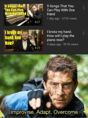 Bear Grills: 9 Songs That You  Can Play With One  Hand  9 Songs That  You Can Play  With One Hand  1 day ago 371K views  3:07  I broke my hand.  How will I play the  piano now?  4 days ago 811K views  I broke my  hand. And  Now?  4:09  Improvise. Adapt. Overcome Bear Grills