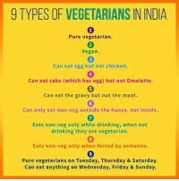 9 Types Of Vegetarians In India Pure Vegetarian 2 Vegan 3 Can Eat Egg But Not Chicken 4 Can Eat Cake Which Has Egg But Not Omelette 5 Can Eat The Gravy