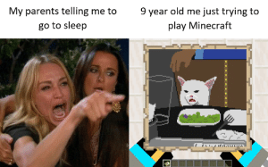 go to sleep: 9 year old me just trying to  My parents telling me to  play Minecraft  go to sleep