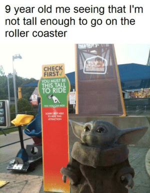 Reddit, Sorry, and Old: 9 year old me seeing that I'm  not tall enough to go on the  roller coaster  hungty  CНECK  FIRST  YOU MUST BE  THIS TALL  TO RIDE  YES! YOU CAN RIDE  SORRY OT ABLE  TO RIDE THIS  ATTRACTION Utter disappointment