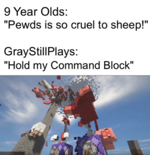 "Sheep, Genocide, and Command Block: 9 Year Olds:  ""Pewds is so cruel to sheep!""  GrayStillPlays:  ""Hold my Command Block"" The sheep genocide has begun."