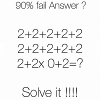 Pemdas 🤔: 90% fail Answer  2+2+2+2+2  2+2+2+2+2  Solve it  I I I I Pemdas 🤔