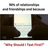 "Fun, Hey, and End: 90% of relationships  and friendships end because  Ea Hey I had fun  w E R T Y U I o P  p F G H J K L  C V BN  ""Why Should I Text First?"""
