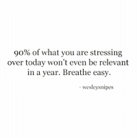 🥂💯 Breath-Easy... 💡 @timkarsliyev: 90% of what you are stressing  over today won't even be relevant  in a year. Breathe easy  -esleysnipes 🥂💯 Breath-Easy... 💡 @timkarsliyev