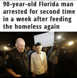 """FDLE's """"four fundamental values"""" are """"service, integrity, respect, and quality."""": 90-year-old Florida man  arrested for second time  in a week after feeding  the homeless again  f Ldn Rit FDLE's """"four fundamental values"""" are """"service, integrity, respect, and quality."""""""
