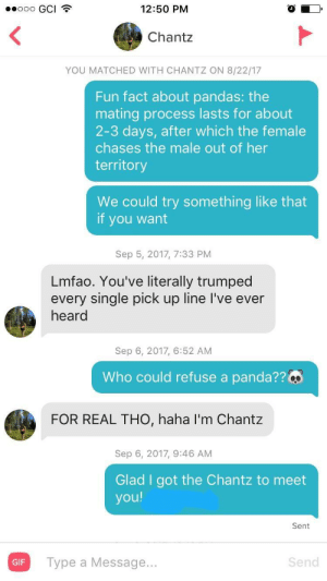 Used a pickup line I saw on this sub and I think it worked out rather well: 9000 GCI  12:50 PM  Chantz  YOU MATCHED WITH CHANTZ ON 8/22/17  Fun fact about pandas: the  mating process lasts for about  2-3 days, after which the female  chases the male out of her  territory  We could try something like that  if you want  Sep 5, 2017, 7:33 PM  Lmfao. You've literally trumped  every single pick up line I've ever  heard  Sep 6, 2017, 6:52 AM  Who could refuse a panda?? Qs  FOR REAL THO, haha I'm Chantz  Sep 6, 2017, 9:46 AM  Glad I got the Chantz to meet  you!  Sent  GIF  Type a Message...  Send Used a pickup line I saw on this sub and I think it worked out rather well