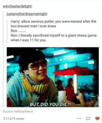albus severus: winchester delight  ustanotherdream atnight  Harry: albus severus potter, you were named after the  two bravest men I ever knew  Ron  Ron: I literally sacrificed myself to a giant chess game  when I was 11 for you  BUT DID YOU DIE?!  Source: half boyfriend  217,679 notes