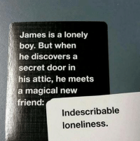 ·: James is a lonely  boy. But when  he discovers a  secret door in  his attic, he meets  a magical new  friend:  Indescribable  loneliness. ·