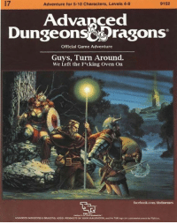 "Dank, Dragons, and 🤖: 9152  Adventure for 5-10 Characters, Levels 4-8  Advanced  Dungeons&Dragons  Official Game Adventure  Guys, Turn Around.  We Left the F cking Oven On  facebook.com/dndmemes ""Oh fuck, now we gotta go back"""
