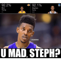 squaready 😂: 92.2%  92.1%  Nick  Stephen  Young  Curry  GSW  @NBAMEMES  U MAD, STEPH? squaready 😂