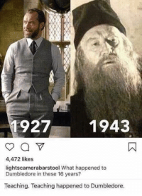 what: 9271943  4,472 likes  lightscamerabarstool What happened to  Dumbledore in these 16 years?  Teaching. Teaching happened to Dumbledore.