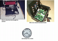 """Ahmed Mohamed, Clock, and School: this is what the kid brought to  school  this is an actual suitcase bomb  obviously it's a clock Ahmed Mohammed's """"Clock""""."""