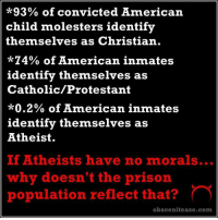 Steve Miller Credit: obscenitease.com: *93% of convicted American  child molesters identify  themselves as Christian.  4% of American inmates  identify themselves as  Catholic/Protestant  *0.2% of American inmates  identify themselves as  Atheist.  If Atheists have no morals...  why doesn't the prison  population reflect that?  obscenitease.com Steve Miller Credit: obscenitease.com