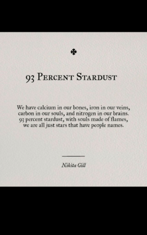 We Are All: 93 PERCENT STARDUST  We have calcium in our bones, iron in our veins,  carbon in our souls, and nitrogen in our brains.  93 percent stardust, with souls made of flames,  we are all just stars that have people name:s.  Nikita Gill