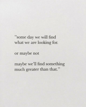 Looking, Day, and Will: 93  'some day we will find  what we are looking for.  or maybe not  maybe we'll find something  25  much greater than that