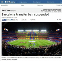 Barcelona, Boxing, and Club: E FIFA D com  Organisation  Development  Governance  About FIFA  Official Do  News  Finances  Fédération Internationale de Football Association  MEDIA Release  FIFA-Stresse 20 PO Box 8044 Zurich Switzerland  Tel: +41 (013-222 7777 Fax: +41-(043 222 7878  Barcelona transfer ban suspended  (FIFA.com) Wednesday April 1 2015  480 Tweet 35  8-1 4  Like  Share  Getty Images  FIFA has suspended the transfer ban handed to Barcelona meaning the club will be able to buy players this  summer, pending an appeal. Great news for Barcelona! Really awesome! Huge! And! It's! . April Fool's Day.
