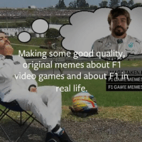 We're in the business of Making some good quality, original memes about F1 video games and about F1 in real life.: Making some good quality  riginal memes about F1  video games and about TAKEN  Fain  real life.  F1 GAME MEMES We're in the business of Making some good quality, original memes about F1 video games and about F1 in real life.