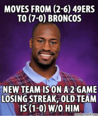 Bad Luck Vernon Davis... Like Us NFL Memes Credit - Black Adam Schefter: MOVES FROM (2-6) 49ERS  TO (7-0) BRONCOS  NEW TEAM IS ON A 2 GAME  LOSINGSTREAK OLD TEAM  IS (1-0) WIO HIM  nemecrunch.com Bad Luck Vernon Davis... Like Us NFL Memes Credit - Black Adam Schefter