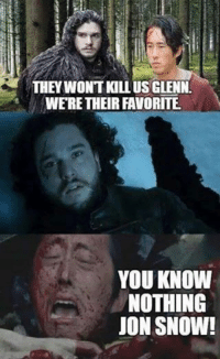 Via: The Walking Dead Memes: THEY WON'T KILL US GLENN  WERE THEIR FAVORITE.  YOU KNOW  NOTHING  JON SNOW! Via: The Walking Dead Memes