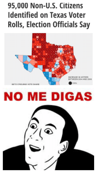 Texas, Election, and Don: 95,000 Non-U.S. Citizens  Identified on Texas Voter  Rolls, Election Officials Say  INCREASE IN VOTERS  BETWEEN 2014 AND 2018  500k  BETO O'ROURKE VOTE SHARE  NO ME DIGAS