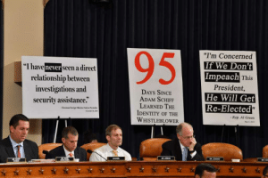 """House gop cut out quotes and brought signs to the hearings: 95  """"I'm Concerned  If We Don't  Impeach This  """"I have never seen a direct  relationship between  investigations and  security assistance.""""  President,  DAYS SINCE  ADAM SCHIFF  LEARNED THE  IDENTITY OF THE  WHISTLEBLOWER  He Will Get  Re-Elected""""  Ukrainan Foreign Mlinister Viadym Prystailo  Neumber 1, 20  - Rep. Al Green  May 4, 2019  COUNSEL  MR JORDAN  MR CONAWAY  MAL TUR House gop cut out quotes and brought signs to the hearings"""