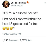 Blackpeopletwitter, The Hood, and Free: 95' Till Infinity .  @Flacco_KT  70$ for a haunted house?  First of all i can walk thru the  hood & get scared for free  10/30/17, 2:52 PM  1,250 Retweets 2,057 Likes <p>I better die (via /r/BlackPeopleTwitter)</p>