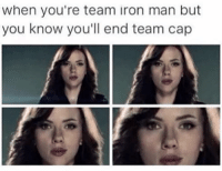 ~MadTitan~: When you're team iron man but  you know you'll end team cap ~MadTitan~