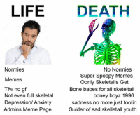 normies: LIFE  DEATH  Normies  No Normies  Super Spoopy Memes  Memes  Oonly Skeletalls Get  Tfw no gf  Bone babes for all sketeltall  Not even full skeletal  boney boyz 1996  Depression/ Anxiety  sadness no more just tootin  Admins Meme Page  Guider of sad skelletall youth